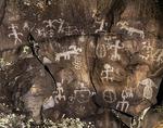 Petroglyphs etched on lava flow at Nankoweap, Grand Canyon Parashant National Monument, Arizona