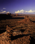 A cairn made from rippled sandstone sits atop Mitchell Mesa, Monument Valley, Arizona