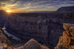 Summer sunrise over the Colorado River from Toroweap, North Rim of Grand Canyon National Park, Arizona