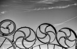 Farm wheel fence art, Uniontown, Palouse, Washington
