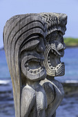 Statues weathering in Pu'uhonua o Honaunau National Historic Park, Big Island, Hawaii