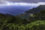 Rainbow over the Na Pali and Kalalau Valley, from Kokee State Park, Kauai, Hawaii