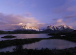 Sunrise light over Lago Pehoe and Los Cuernos, Torres del Paine National Park, Patagonia, Chile