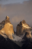 Sunrise light on Los Cuernos, Torres del Paine National Park, Patagonia, Chile