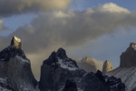 Morning light on Los Cuernos and Los Torres, Torres del Paine National Park, Patagonia, Chile