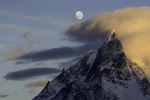 Moonset and morning light on Paine Grande, Torres del Paine National Park, Patagonia, Chile