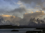 Moonset and morning light on Los Cuernos and Los Torres, Torres del Paine National Park, Patagonia, Chile