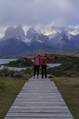 Boardwalks lead from the Explora resort, over Lago Pehoe and Los Cuernos, Torres del Paine National Park, Patagonia, Chile
