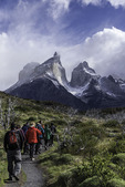 Explora hiking guide 'Negra' leads a hike, near Lago Nordenskjold, Torres del Paine National Park, Patagonia, Chile