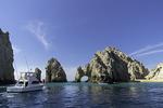 Boats gather near El Arco, at Land's End, Cabo San Lucas, Baja California Sur, Mexico