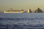 A cruise ship arrives in Cabo San Lucas, Baja California Sur, Mexico