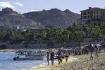 Tourists roam Playa Medano, Cabo San Lucas, Baja California Sur, Mexico