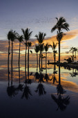Sunrise reflection poolside at the One & Only Palmilla, Los Cabos, Baja California Sur, Mexico