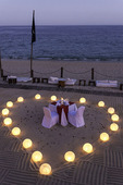 Couples beach dinner setting, at the ME Cabo, Cabo San Lucas, Baja California Sur, Mexico