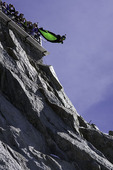 Flying from Mont Blanc in a wingsuit, Chamonix, France