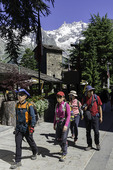 Tourists in Courmayeur, Italy
