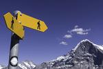 Trail signpost, on the Royal Trail above Mannlichen, Bernese Oberland, Switzerland