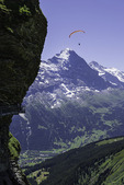 Paragliders fly near the Airwalk, at First, Bernese Oberland, Switzerland