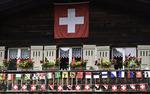 Flags displayed on the main street of Murren, Bernese Oberland, Switzerland