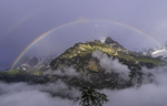 Rainbow over the Eiger and Jungfrau, viewed from Murren, Bernese Oberland, Switzerland