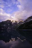 Sunset light on Lake Oeschinensee, above Kandersteg, Switzerland