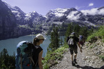 Hiking the high trail above Lake Oeschinensee, above Kandersteg, Switzerland