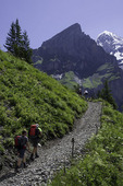 Hiking the high trail above Lake Oeschinensee, above Kandersteg, Switzerland