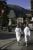 Hikers stroll the streets of Zermatt. Switzerland
