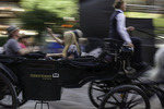 Visitors ride a carriage on the streets of Zermatt. Switzerland