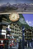 The Matterhorn is reflected in the glass of the tram station, Zermatt. Switzerland