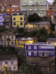 Multi-colored homes cover the hills of Valparaiso, Chile