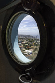 View of the city from a porthole window in Pablo Neruda's home, Valparaiso, Chile