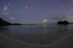 Sunrise moon at Trunk Bay, US Virgin Islands National Park, St. John, US Virgin Islands