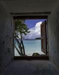 Historic 1680's building window view of Cinnamon Bay, US Virgin Islands National Park, St. John, US Virgin Islands