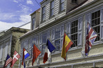 Seven flags of historic rulers, Christiansted, St. Croix, US Virgin Islands