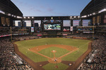 The Arizona Diamondbacks play the SF Giants on a spring night at Chase Field, Phoenix, Arizona