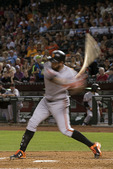 Brandon Belt swings away at Chase Field, Phoenix, Arizona