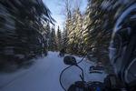 Snowmobiling near Roberval, Saguenay-Lac-Saint-Jean, Quebec, Canada