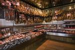 Cured Iberian ham legs in store, Salamanca, Spain