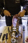 Carving Iberian ham at Restaurant El Monte, Salamanca, Spain