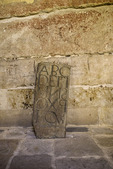 Alphabet stone tablet in Cathedral Veija, Salamanca, Spain