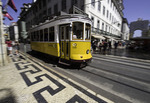 Cable cars in downtown Lisbon, Portugal