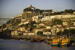 Historic architecture rises above the Rio Douro, Porto, Portugal