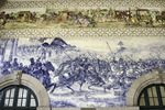 Historic azuelos, (blue tiles), in the Sao Bento train station, downtown Porto, Portugal