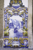 Blue tile art work adorns the train station at Pinhao, beside the Rio Douro, Portugal