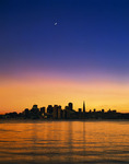 Crescent moon and Venus over downtown San Francisco, from Treasure Island, historical image from 1987
