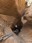 Exploring the 'Huntress' slot canyon, near Kanab, Utah