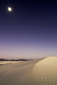 Moonset at sunrise, White Sands National Monument, New Mexico