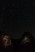 Stars over petroglyphs of eagle and bighorn sheep, at Three Rivers Petroglyph Site, New Mexico