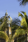 The famous Cathedral looms over the Malecon, Puerto Vallarta, Mexico